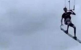 [WATCH] Kitesurfer jumping over pier has everyone amazed