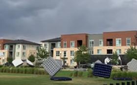 [WATCH] Storm sends air mattresses flying, halts movie night, goes viral