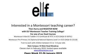 ELF Montessori Teacher Training College - Open Week
