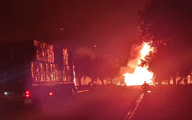 LP Gas tanker crashes, causes massive explosions and fire