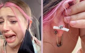 [WATCH] TikTok star has mask pierced to her ear in crazy incident