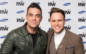 Robbie Williams and Olly Murs on one stage