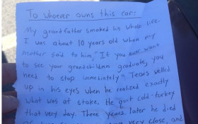 Guy leaving note a driver who parked crappy, has social media talking