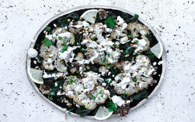 Recipe: Cauliflower Steaks with Goat's Cheese & Pine Nuts
