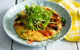 Shrimp 'n Noodle Omelette