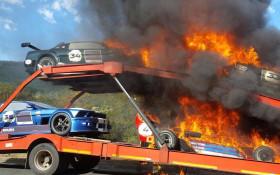 Hillclimb historic racing cars catch fire