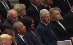 [WATCH] No chill from Hill(ary)! - Clinton seated next to Trump at Bush funeral