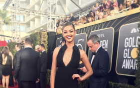 Miss Universe, Demi Leigh Nel-Peters attends the Golden Globes