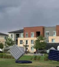 [WATCH] Storm sends air mattresses flying, halts movie night, goes viral