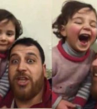 [WATCH] Syrian father teaching daughter how to cope through laughter goes viral