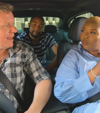 Frankie and Zweli give Anele a tour of the new BMW 3 Series