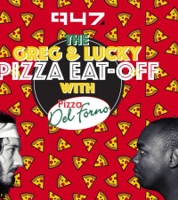 The Greg and Lucky Pizza eat off!