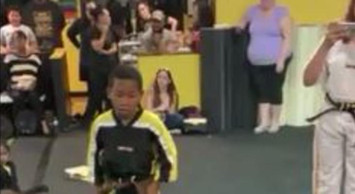 [WATCH] Class cheering karate kid until he breaks board will melt your heart
