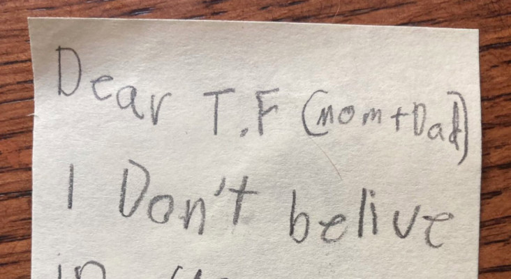 Toddler's letter telling tooth fairy that he doesn't believe it, has gone viral
