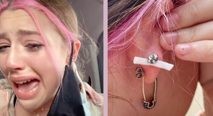 [WATCH] TikTok star has mask pierced to her ear in crazy incident