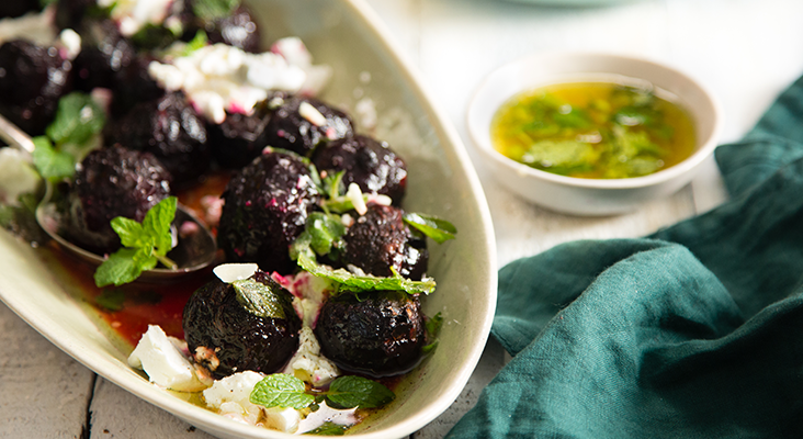 Braai sides: Roasted beetroot with herbs and goat's cheese
