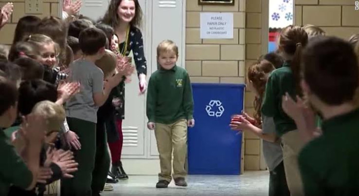 [WATCH] Classmates cheer as six-year-old boy finishes chemotherapy