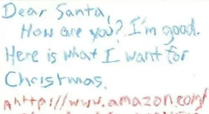 Little child sends Santa an Amazon URL code so Santa knows where to get gift