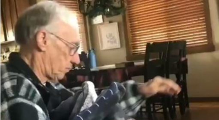 [WATCH] Daughter making father a quilt of late wife's clothes goes viral