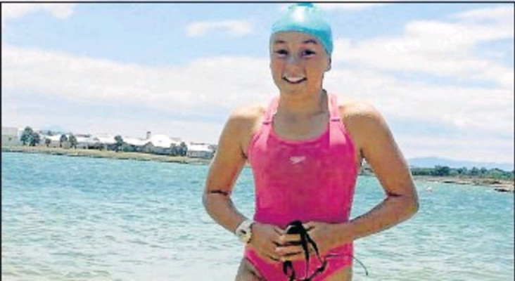 11-year-old Abriella Bredell swimming from Robben Island for charity
