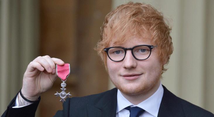 Pop star Ed Sheeran receives honour from Britain's Prince Charles