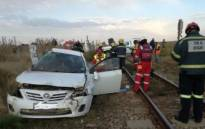 Four people have been killed after a vehicle and train collided in Magaliesburg. Picture: ER24 Twitter