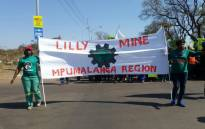 A screengrab of Amcu workers at the Lily Mine marching through the streets of Pretoria. Picture: @_AMCU via Twitter.