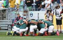 The Blitzboks get ready for a match at the Cape Town leg of the Sevens World Series on 10 December 2017 at the Cape Town Stadium. Picture: @Blitzboks/Twitter