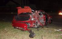 The 26-year-old driver of the vehicle in this image died after he lost control of his BMW and collided with the Indian couple, killing them, in Vanderbijlpark. Picture Intelligence Bureau SA via Facebook.