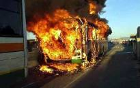 A Golden Arrow bus was torched in the Delft area on 18 September 2017. Picture: Supplied.