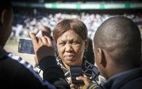 Basic Education Minister Angie Motshekga talks to the media during Youth Day celebrations at Orlando Stadium in Soweto on 16 June 2016. Picture: Reinart Toerien/EWN.