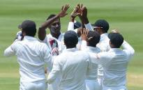 Sri Lankan team celebrates a wicket during day two of the third and final Test at the Wanderers against South Africa. Picture: @OfficialCSA.
