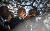 Supra Mahumapelo pictured addressing supporters underneath a thorn tree in Mahikeng before the ANC has placed him on precautionary leave on 9 May 2018. Picture: Picture: Thomas Holder/EWN