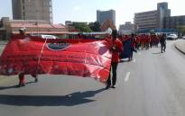 Demonstrators in KwaZulu-Natal march through the Durban CBD during May Day rally. Picture: @_cosatu/Twitter.
