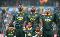 Springbok captain Siya Xolisi sings the national anthem ahead of their second test against England in Bloemfontein on 16 June 2018. Picture: Supplied.