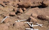 FILE: Crosses on the koppie in Marikana, where 34 miners were killed in a standoff with police on 16 August 2012. Picture: EWN.
