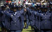 Dep Police Minister Maggie Sotyu inspects the Saps new recruits at the Passing Out ceremony in Philippi, Cape Town. Picture: Thomas Holder/EWN