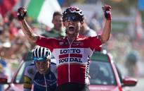 Lotto Soudal rider Tomasz Marczynski celebrates a stage victory in the Vuelta a Espana. Picture: AFP