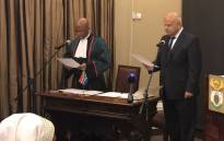 Minister of Public Enterprises Pravin Gordhan being sworn in by Chief Justice Mogoeng Mogoeng. Picture: GCIS.
