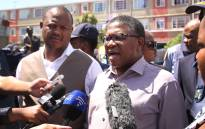 After a spate of shootings in the area, Police minister Fikile Mbalula visited Hanover Park and Manenberg. Photo: Bertram Malgas