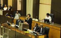 Gauteng Finance MEC Barbara Creecy delivering her Medium-Term Budget in the Legislature. Picture: @GautengProvince/Twitter.