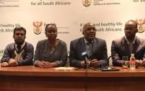 FILE: Health Minister Aaron Motsoaledi and Gauteng Health MEC Gwen Ramokgopa (middle) brief the media on the transfer of some Esidimeni patients. Picture: Masego Rahlaga/EWN.