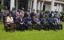 High Court Judge Priscilla Chigumba (front row, third from left) has been sworn in as the new chairperson of Zimbabwe Electoral Commission. Picture: @ZECzim/Twitter.