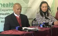 North West Health MEC Magome Masike and Administrator of the department Jeanette Hunter addressing the media at the Provincial Health Consultative Forum in Rustenburg on 6 July. Picture: Masechaba Sefularo/EWN.