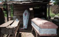 This picture taken on 5 May 2016, shows coffins on sale in Nsukka, southeast Nigeria following ongoing clashes between nomadic Fulani herdsmen and farming communities in Nigeria's middle belt and southeast states. Picture: AFP.