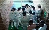Australia's David Warner and South Africa's Quinton de Kock were involved in a scuffle at tea on Day 4 at Kingsmead on 4 March 2018. Picture: Twitter/@CricketAus