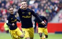 Atletico Madrid's Kevin Gameiro celebrates after scoring in a match against Sporting Gijon on 18 February 2017. Picture: @atletienglish.