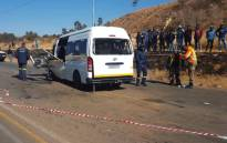 Two men were killed and 13 others injured following a head-on collision between a taxi and bakkie on Elias Motsoaledi Road in Soweto. Picture: @ER24EMS/Twitter.