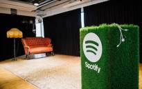 FILE: A speaker with the Spotify logo is pictured in the cafeteria of the company headquarters in Stockholm is pictured on 16 February 2015. Picture: AFP