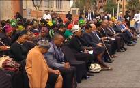 A screengrab of dignitaries observing a moment of silence during the Nelson Mandela Foundation's tribute for the late Winnie Madikizela-Mandela.